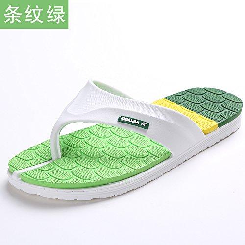 Chaussons, tongs, pieds de pin, pantoufles maison, tongs occasionnels et simples chaussures de plage antidérapage Stripe green