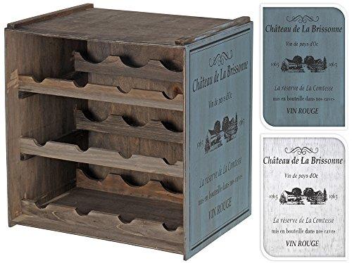 Koopman Holz Weinregal Shabby Chic Vintage stapelbar mit seitlichem Aufdruck dunkel Flaschenregal Weinkiste