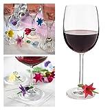 Lalang 6st Blumen Silikon Weinglas Charme Glasmarkierer Anhänger Dekoration