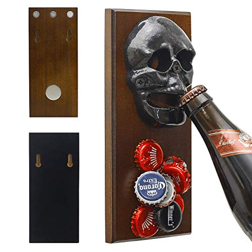 ChasBete Rustikaler Totenkopf-Flaschenöffner für Wandmontage & mit starkem Magnet für Kühlschrank, Schädel-Flaschenöffner für Bier/Limo