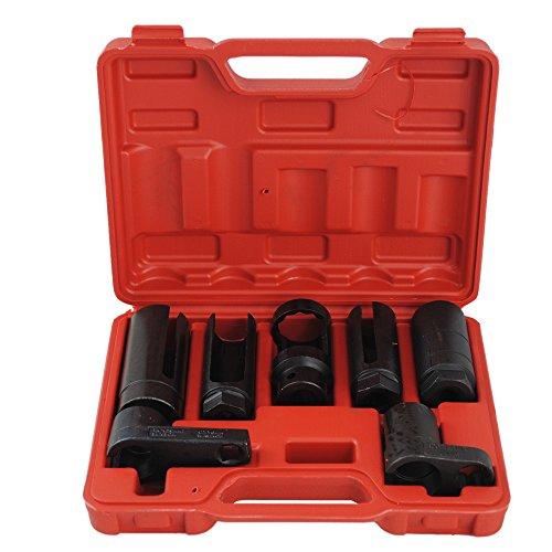 CCLIFE 7 tlg Lambdasonden Steck Schlüssel Stecknüsse Lamdasonde Nüsse Set Werkzeug Nusssatz