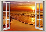 3D-Wandbild Geöffnetes Fenster - großformatig aus hochwertigem Vinyl - wiederverwendbar - Poster Blick aus dem Fenster - Wandtattoo Badezimmer - 3D Fototapete Wandsticker Sonnenuntergang 85 x 115 cm
