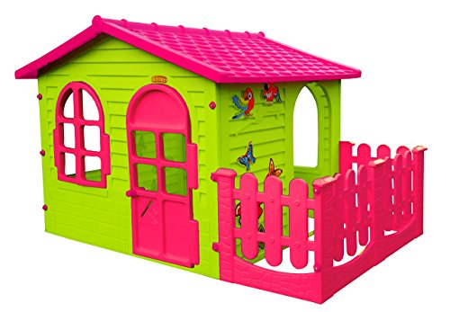 Preisvergleich Produktbild Spielhaus Kinderspielhaus mit Terrasse XXL für drinnen und Draußen Pink Gartenhaus Kinderhaus ideal für Mädchen Kinder Spiel Haus Gartenhaus