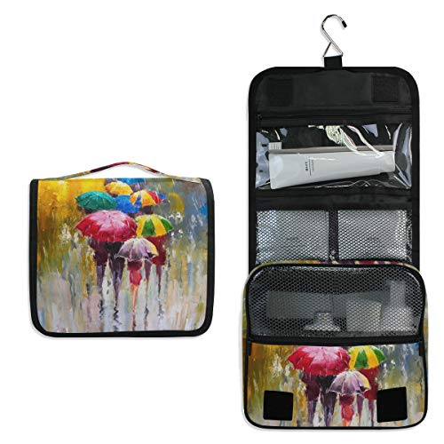 3a1feb86ce54 CPYang Hanging Toiletry Bag Oil Painting Rainy Day Umbrella Travel  Cosmetics Bag Portable Toiletry Kit for Women Men