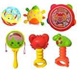 HALO NATION® 6 Pcs Baby Rattle - Baby Concert - 4 Cute Rattle