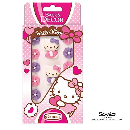 Günthart BackDecor Hello Kitty Zuckerfiguren mit Blumen