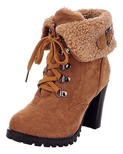 Minetom Donna Inverno Moda Tacco Alto Stivali Corti Faux Foderato Pelliccia Confortevole Martin Boots Cachi EU 35