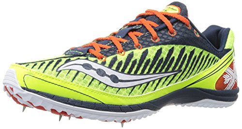 Saucony Men's Kilkenny XC5 Spike Cross Country Spike Shoe, Zitronenfarben/Blau/Rot, 46.5 EU/11 UK (Cross-country-spike)