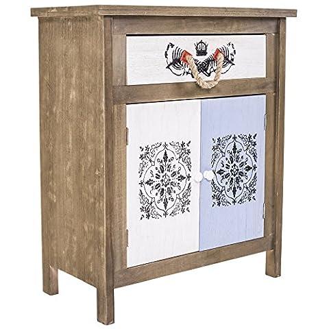 Rebecca Srl Cupboard Sideboard Chest of drawers 2 Doors 1 Drawer White Blue prints Black Wood Country Rustic Style Bedroom Bathroom (art.