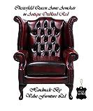 Chesterfield Echtem Leder Hand aus Queen Anne Sessel Modern Rot