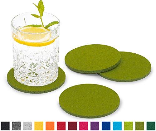 FILU Filzuntersetzer rund 8er Pack (Farbe wählbar) Grün - Untersetzer aus Filz für Tisch und Bar als Glasuntersetzer / Getränkeuntersetzer für Glas und Gläser