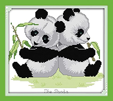 CaptainCrafts Hot New Releases Cross Stitch Kits Patterns Embroidery Kit - Panda Twins (STAMPED)