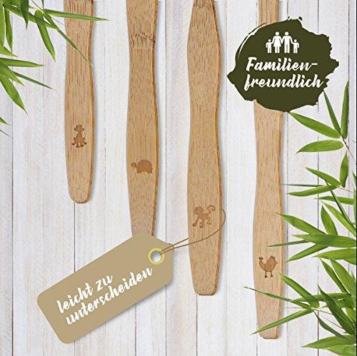 4er Pack ♻ Bambus Zahnbürste mit reinem Bambus-Holz ✮ vegan ✮ biologisch abbaubar ✮ 100% frei von BPA ✮ Borsten mit Bambus-Holzkohle für beste Sauberkeit - 3