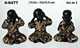 DRW DonRegaloWeb - Set de 3 Figuras de Resina de niños Buda Resina, en Color Negro y Oro con Traje Morado