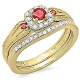 Damen Ring / Ehering 0.50 Karat 14 Karat Gelbgold Rund Diamant And Red Echte Rubin Verlobungsring Ehering Set 1/2 Karat