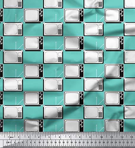 Soimoi Reine Seide 44 Zoll breit Stoff Fernsehen Printed 20 GSM by The Meter- Aqua-Blau