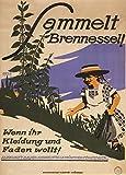 Poster, deutsches Propaganda-Plakat, Aufschrift Sammelt Brennnessel! Wenn ihr Kleidung und Faden wollt!, Erster Weltkrieg 1914-18, Vintage, A3, 250g/qm, glänzend