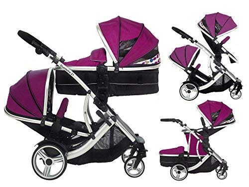 Kids Kargo Duellette 21 BS Combi Tandem double Twin pushchair Travel system Pram Raspberry Kids Kargo Various seat positions. Accommodates 1 or 2 car seats Carrycot converts to seat unit incl mattress. Toddler seat from 6 months Suitability Newborn & toddler 1