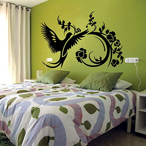 zhuziji Beautiful Bird Flower Swirl Wall Decal Vinyl Bedroom Home Decoration Interior Removable Art Mural Floral Wall Stickers Di 83x57cm Highland Swirl