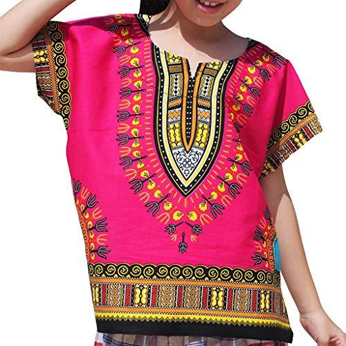 WUSIKY Baby Mädchen Jungen Top Sommer, Junge Mädchen Kinder Baby Unisex Helle Afrikanische Farbe Kind Dashiki T Shirt T Tops Lässige Mode Shirt Set Geschenk für Kinder(Hot (Dashiki Kostüm)