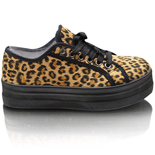 Xelay Femmes Décontracté Plat Chaussures Plates Floral Confortable Chaussures Baskets Lacet Imprimé panthère Noir