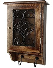 Worthy Shoppee Wooden Wall Hanging Key Holder (33x23cm, Brown)