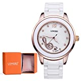 LONGBO Big Face White Muisc Watch Ceramic Watch Band Pink Women Arabic Number Watch For Female