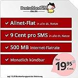 DeutschlandSIM Flat S - monatlich kündbar (500MB Internet-Flat, Telefonie-Flat, 9ct pro SMS, EU-Ausland inklusive, 19,95 Euro/Monat) Vodafone-Netz