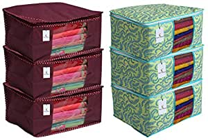 Kuber Industries 3 Piece Non Woven Saree Cover Set, Maroon & Metallic Print 3 Piece Non Woven Saree Cover Set, Green Combo