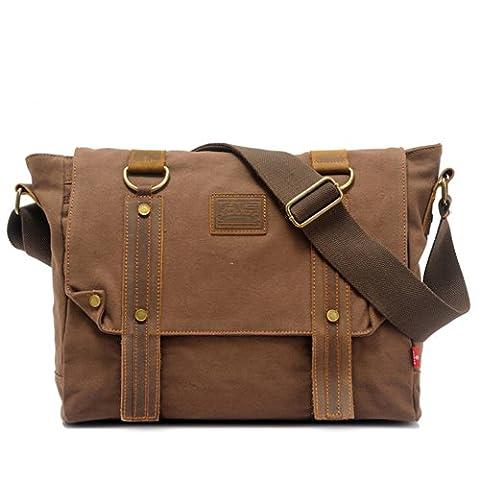 EcoCity Vintage Leather Canvas Shoulder Satchels Messenger Bags School Satchel Bag MB0033C2 (Coffee)