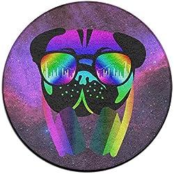 Velocitee DJ Pug perro colorido Neon Music Clubbing Felpudo–Felpudo de entrada (Floor Mat Alfombra para interiores/exteriores/puerta delantera alfombrillas antideslizantes