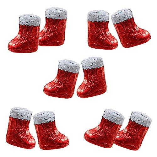 Preisvergleich Produktbild 10er SET Knickebein Stiefelchen 10 x je 19 g Edelbitter Schokolade Nikolaus Stiefel Weihnachten