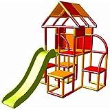 move and stic Lina großer Spielturm / Spielhaus Kletterturm mit Rutsche für Kleinkinder (orange rot)