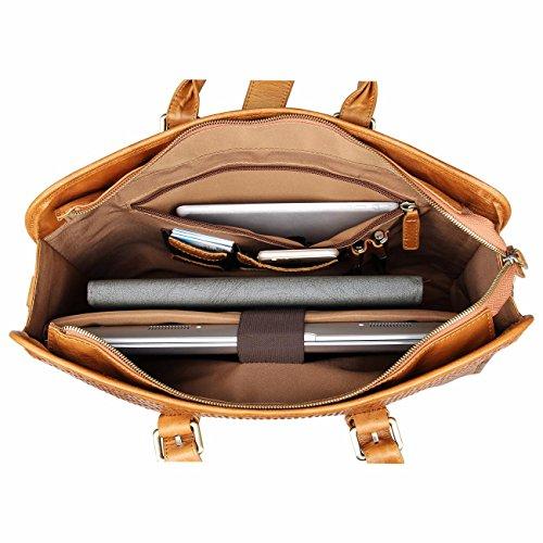Herren echt Leder Weekender groß Umhängetasche Handtasche Kuriertaschen Schulrucksack Reisetasche Dunkel Kaffee Gelb