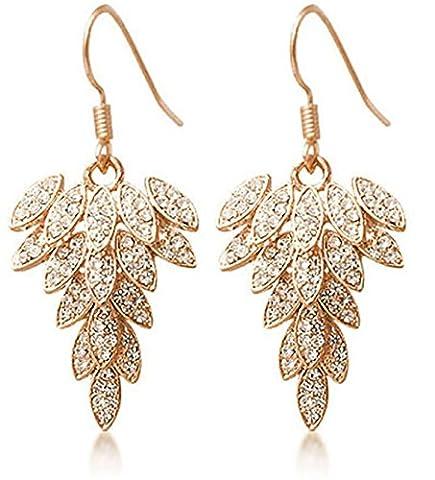 ANDI ROSE Fashion Jewelry Women Gold Plated Hook Full Rhinestones Crystal Leaves Earrings (Yellow)