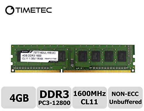 Timetec Hynix IC DDR3L 1600MHz PC3-12800 Unbuffered Non-ECC 1.35V CL11 2Rx8 Dual Rank 240 Pin UDIMM Desktop Memoria Modulo Upgrade (4GB)