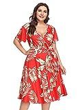 FeelinGirl Damen Sommerkleid Vintage Kleider Boho MaxiKleid Über Größe Frauen Mode Strandkleid Streifen Schulterfrei Rundhals High Waist Partykleid