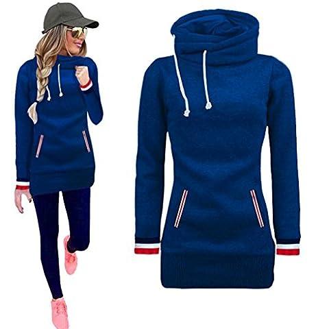 Toamen Femmes Manche Longue Sweatshirt À Capuche Chandail Chemise Robe Longues Chemises Pullover (M, Bleu)