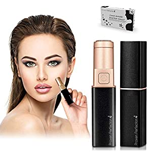Women's Facial Hair Remover - Luxury Portable Ladies Facial Hair Trimmer for Painless, Flawless & Effective Removal of Peach Fuzz, Chin and Upper Lip Hair - Battery Operated - UK Brand (Black Gold)
