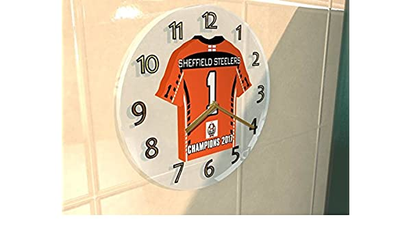 c3be0b538 MyShirt123 SHEFFIELD STEELERS - ELITE LEAGUE ICE HOCKEY PLAY OFF 2017  WINNERS COMMEMORATIVE WALL CLOCK ACRYLIC SHIRT DESIGN  Amazon.co.uk  Sports    Outdoors