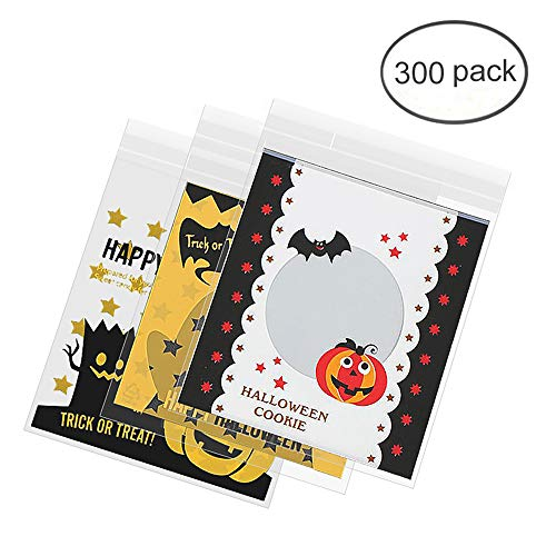 FineInno 300Pcs Halloween Selbstklebend Süßigkeiten Tasche Kekstüten klar Tüte Süßigkeitentüten Cellophantüten Plastiktüten Flachbeutel (Körper-taschen Halloween Klare)