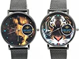 EREMITI JEWELS Outfit Relojes de Pareja Reloj Correa Camiseta Milano Black Negro Tigre vs León Tiger Versus Lion Io E Te Skull Woman Fantasy Face Rostro Animal Cara