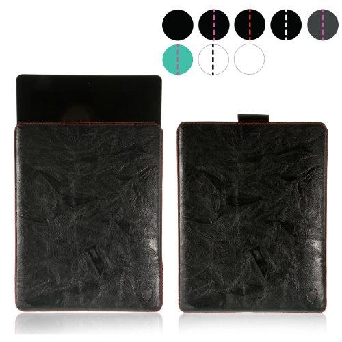 MediaDevil iPhone 6 / 6S Lederhülle (Dunkelgrau mit blauen Nähten) - Artisanpouch Hülle aus echtem europäischen Leder mit Ausziehlasche Schwarz mit roten Nähten