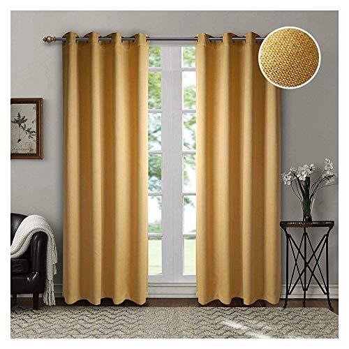kdichte Vorhang mit Raffhalter 2er Pack 140x245cm, Abdunkelnde Ösen Thermogardinen im Leinenoptik für Schlaf- und Wohnzimmer (Gelb) ()