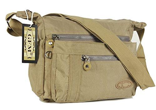 GFM pour femme Poches multiples en tissu léger de Croix Corps Sac Sac à bandoulière Messenger sac Style 1 - Beige (KH)