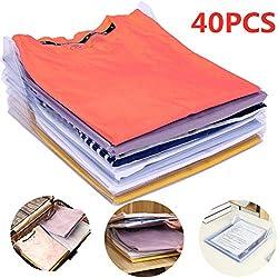 Nifogo Organisateur d'armoire,Organiseur de Vêtements Placards,Chemise Fichier Rangements,Organiseur de vêtements ou de Documents,Closet Organizer, Organiseur de T-Shirt(40 PCS)