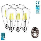 LIKEDA LED-Glühlampen, Vintage Edison-Glühlampe 4W Dimmbare LED-Glühlampen, 400Lm, 360 Abstrahlwinkel, 6400K Tageslicht, LED-Glühlampen 6er Pack,110V/E26