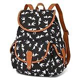 Vbiger Damen Rucksack Damen Daypack Backpack Canvas Rucksack Vintage Rucksack Schulrucksack mit Großer Kapazität, Schwarz Vögel+, One Size
