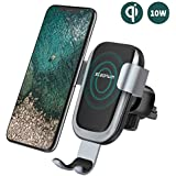 steanum Wireless Car Charger, Fast Qi Wireless Car Charger Phone Holder Car Vent Mount Gravity Sensor Compatible with Galaxy s9/s9+/s8/s8+/S7, Compatible with iPhone 8/8+/X/XS/XS Max/XR
