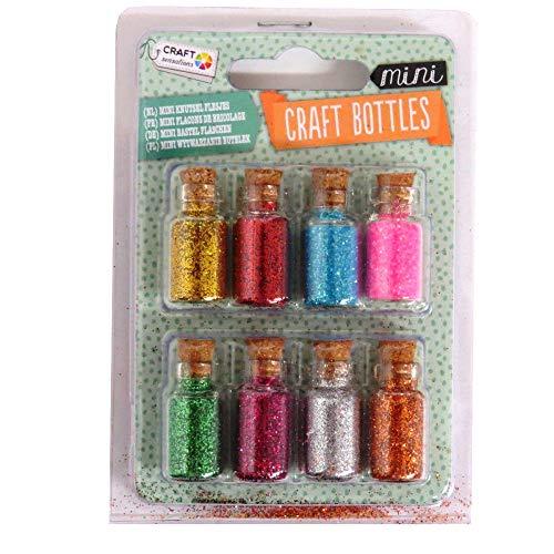Mini-Bastelflaschen, verschiedene Schmucksteine, Glitzer oder Perlen, 8 Stück, Fine Glitter